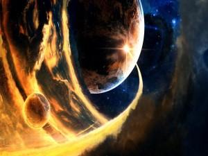 Planetas envueltos por una tormenta solar