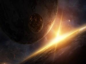 Sol iluminando tres planetas