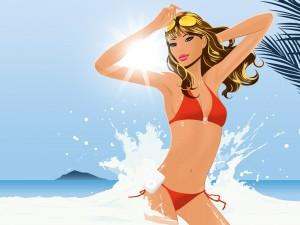 Chica refrescándose en el mar