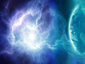 Fuerte luz envolviendo a un planeta
