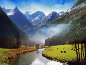 Vacas pastando junto a un río