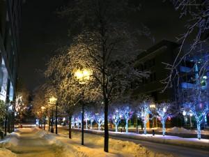 Farolas sobre la nieve