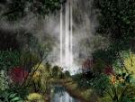 Vegetación junto a una cascada