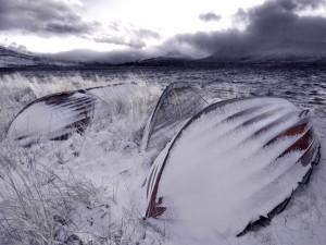Barcas cubiertas de nieve