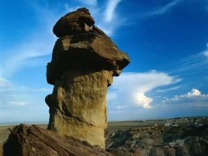 Cielo azul sobre una roca