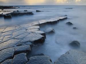 Rocas húmedas en la costa