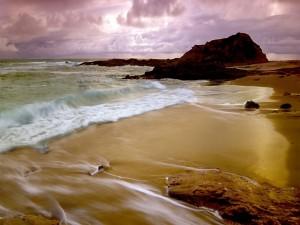 Agua de mar mojando la orilla