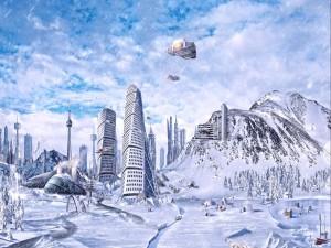 Nieva sobre una ciudad futurista