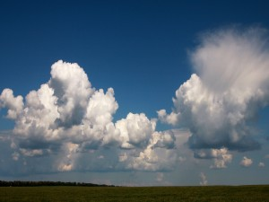 Nubes blancas sobre el campo