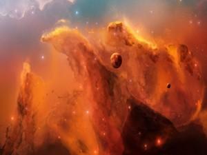 Planetas junto a una gran nebulosa