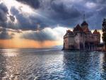 Castillo de Chillon y el lago Lemán (Suiza)
