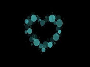 Corazón formado por círculos azules
