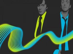 Hombres tras una onda de color amarillo y azul