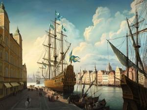 Barcos del siglo XVIII en una ciudad