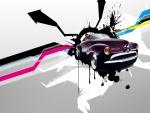 Auto clásico con pinceladas de colores a su alrededor