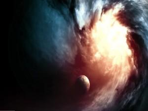 Brillante luz absorbiendo a un planeta