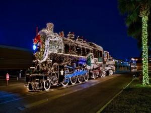 Locomotora con luces de Navidad