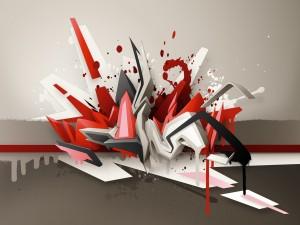 Salpicaduras de pintura sobre una figura abstracta