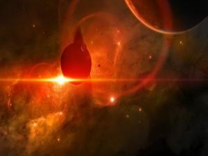 Planetas y estrellas en el espacio