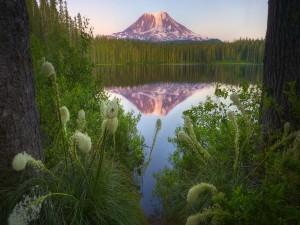 Una montaña reflejada en el lago