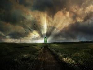 Puerta mágica en el campo