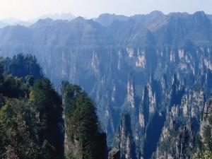 Vista de las montañas Tianzi (China)