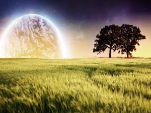 Brillante planeta junto a un prado