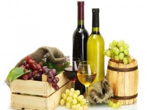 Vino tinto y blanco acompañados de uvas