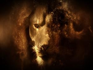 Retrato de  león en 3D