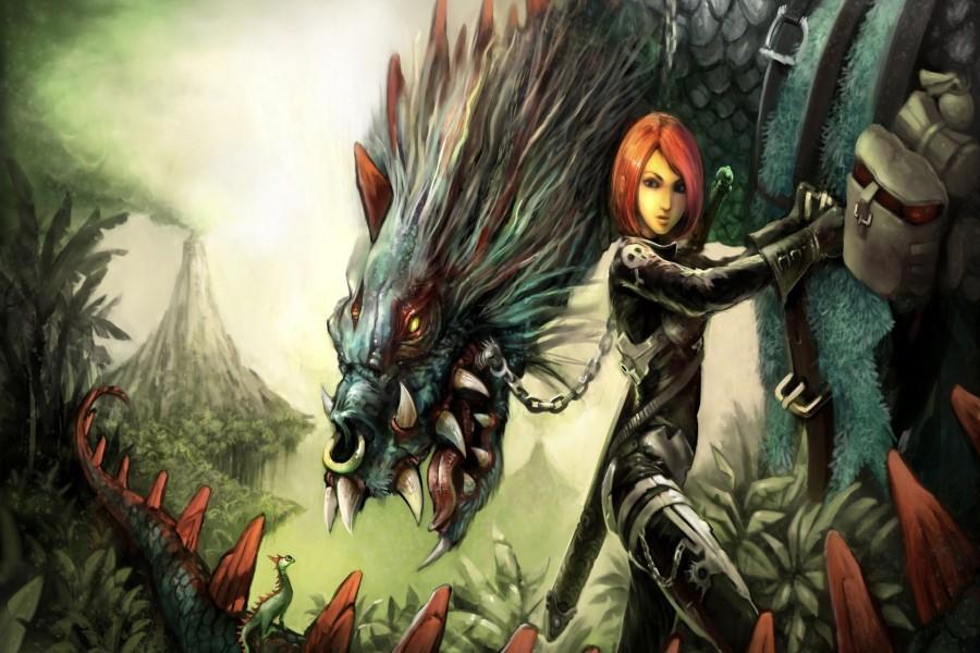 Mujer guerrera con su dragón