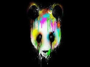 Pintura de colores sobre la cara de un panda