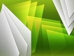 Figuras triangulares blancas y verdes