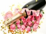 Bellas rosas y champán