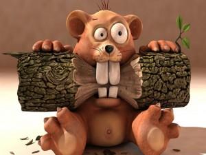 Castor royendo el tronco