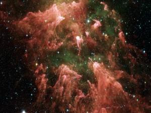 Estrellas luciendo en la nebulosa