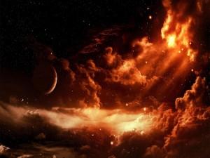 Planeta, estrellas y nubes