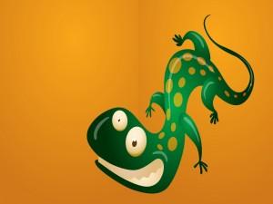 Gecko verde con cara chistosa