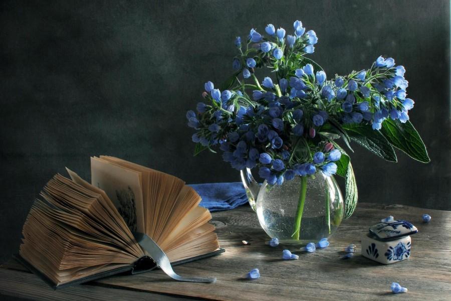 Flores junto a un libro