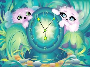 Seres mágicos junto a un reloj