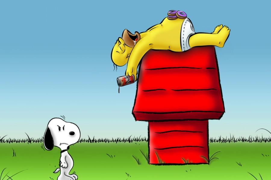 Homer Simpson durmiendo sobre la casa de Snoopy