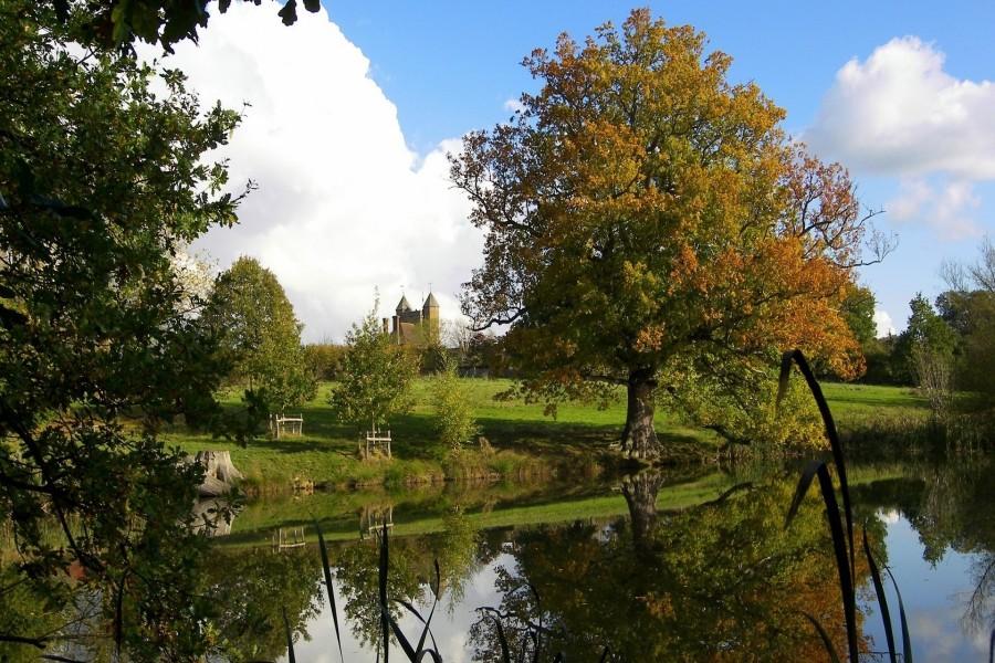 Vista lejana de un castillo desde la orilla de un lago