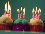Cupcakes con unas velas encendidas