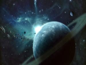 Asteroides junto a un planeta