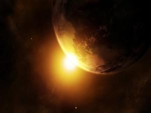 El sol iluminando a la Tierra