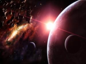 Asteroides y planetas iluminados por una gran estrella