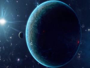 Gran estrella iluminando unos planetas
