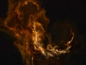 Brillante nebulosa en el espacio