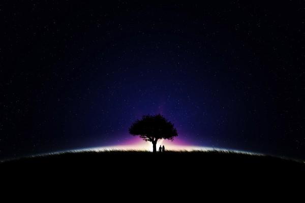Pareja paseando en la noche