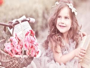 Niña con una corona de flores