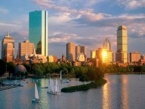 Vista de la bahía Back y los edificios de Boston